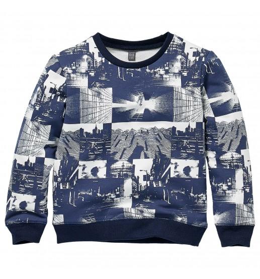 Quapi - Sweater Kenzio - AOP Dark Blue Photo Print